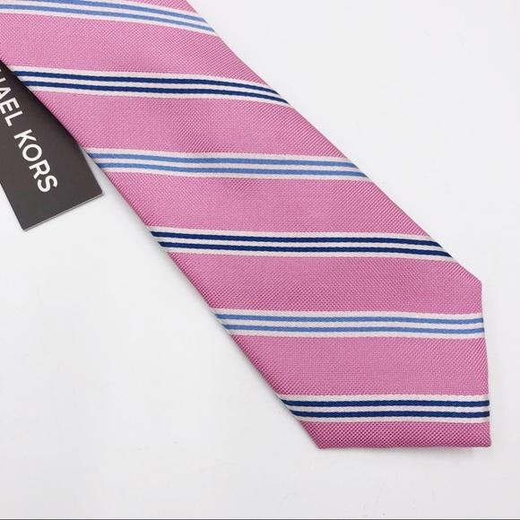 NEW MICHAEL KORS Pink Blue Stripe Silk Neck Tie